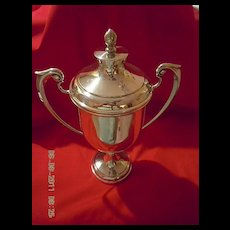 E.P.N.S. Trophy Cup with a cover and scroll loop handles