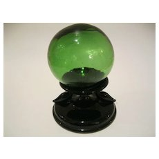 Black Depression Glass Holder wi Vintage Fish Float Ball