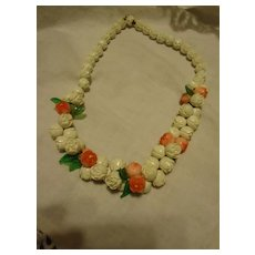 Beautiful White & Pink Flower Green Leaf Faux Ivory Bead Necklace