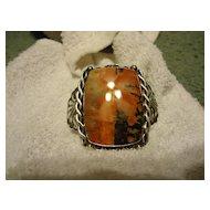 Beautiful Sterling Silver Navajo Red Stone Cuff Bracelet