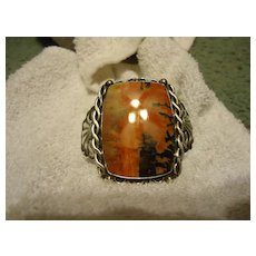 Beautiful Sterling Silver Navajo Red Stone Cuff Bracelet