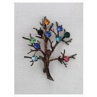 Sterling tree of life with prong set rhinestones