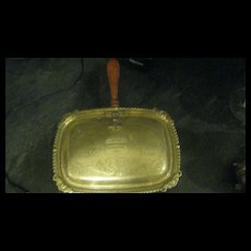 Silver inscribes butlers tray W/wood handle
