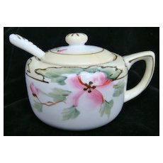 Nippon hand painted wild rose porcelain jelly pot