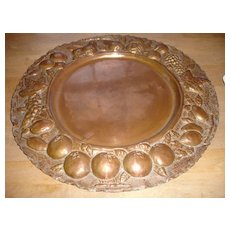 Vintage Copper Tray, Relief Molded Border