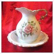 Beautiful Japanese Made Floral Porcelain Pitcher with Saucer