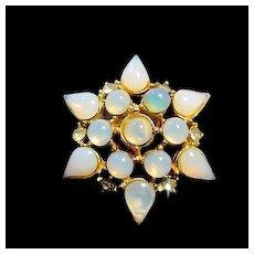 Vintage Milky Blue Glass Cabochon Rhinestone Star Pin Brooch