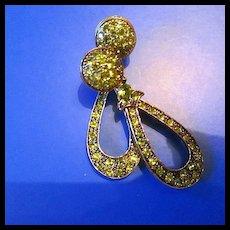 Vintage Set Peridot Stones on Copper Post Earrings