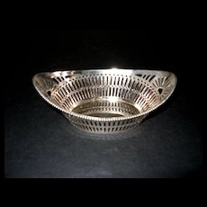 Vintage Sterling Reticulated Almond Bon Bon Nut Basket Dish