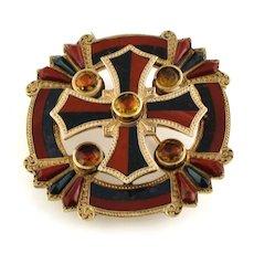 Rare Gold Scottish Cross Bloodstone Brooch