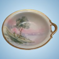 "Nippon Handpainted Landscape Bowl with 1 Handle 8"" c.1900"