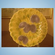 French Majolica Sarreguemines Fruit Plate Plums    c.1910-1920