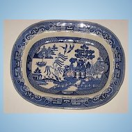 "Blue Willow Buffalo Pottery 14"" Platter 1909"