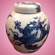 19th Cen. Chinese Dragon Pot Blue & White
