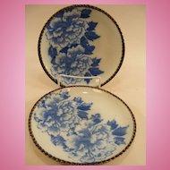 "Pr. Japanese Imari Peony Plates 7 1/2"", Blue & White c.1875"