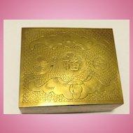 Chinese Brass Cigarette Box 1920's