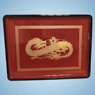 """Vintage OTAGIRI 14""""x10.5"""" Red Dragon Lacqured Tray Hand Crafted Japan"""