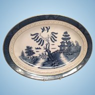 "Nikko Double Phoenix Blue Willow Occupied Japan 1945-1952 Platter 16"" x 11 3/4"""