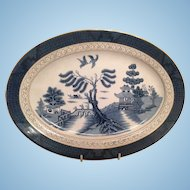 "Nikko Double Phoenix Blue Willow Occupied Japan 1945-1952 Platter 14"" x 10"""
