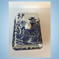 Blue Willow Vintage Cheese Dish / Stand by Burleighware, English