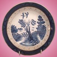 "Nikko Double Phoenix Blue Willow Occupied Japan 1945-1952 Bread Plate 6 1/4"""