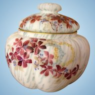 Pairpoint Satin Glass Biscuit Jar Enameled Flowers and Wreaths