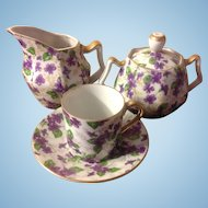 Vintage Violets Chintz Inarco Made in Japan Cream & Sugar with 1 Demi Cup & Saucer