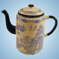 Blue Willow English Enamelware Coffee Pot c.1930