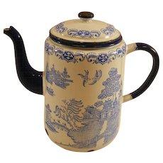 Blue Willow English Enamelware Coffee Pot c.1930