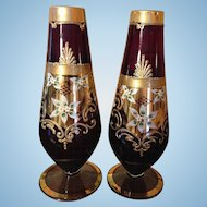 "Pr. 9"" Victorian Moser Ruby Red Vases, Handpainted, Heavy Gold"