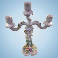 """Von Schierholz Porcelain Floral Child Candelabra German Dresden 14"""" Great Cond!"""
