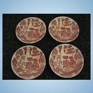 Set of 4 Pink or Red Willow Japan Butter Pats
