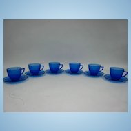 Set of 6 Newport or Hairpin Cups & Saucers Cobalt Blue Depression Glass