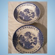 Pair Schweppes Tonic Blue Willow Dishes by Wedgwood