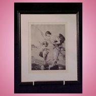 """""""Love's Bait"""" Cherub Fishing  Print 1898 Art Journal"""
