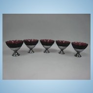 Set of 5 Royal Lace Amethyst Sherberts in metal Holders. 1934-1941