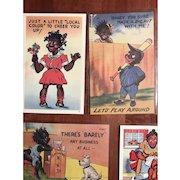 Set of 5 Vintage Unposted Black Memorabilia Americana Post Cards