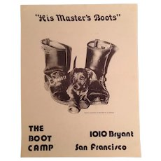 """The Boot Camp """"His Masters Boots"""" Gay Leather Bar Poster San Francisco c.1970's"""