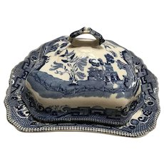 Blue Willow Covered Vegetable with Original Lid Buffalo Pottery 1909
