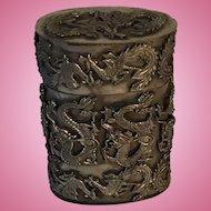 Chinese Miao Silver Tobacco Box Dragons c.1900