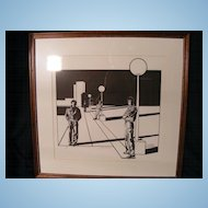 """Limited Edition Signed Print by Dan Lund 1981 #130/200 """"Streetlight Cruising"""""""