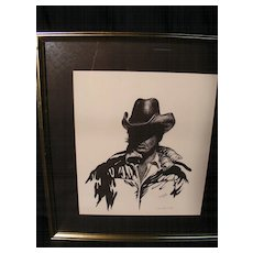 """Limited Edition Signed Print by Dan Lund 1981 #86/200 """"Mysterious Cowboy"""""""