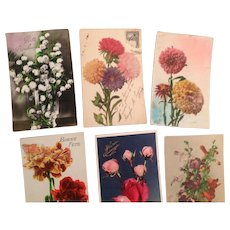 Lot of 9 Old French Floral Postcards 1920's Roses, Lily of the Valley, Carnations, etc.