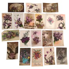Lot of 19 Old French Floral Postcards with Violets 1910's