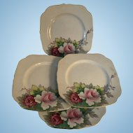 "Set of 4 Occ Japan 1947-1952 Vintage 8"" Square Plates Handpainted Pink Roses"