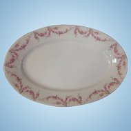 "Royal Schwarzburg China RSC15 Platter 16"" Pink Rose Garland Design c.1915"