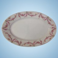 "Royal Schwarzburg China RSC15 Platter 11 3/4"" Pink Rose Garland Design c.1915"