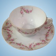 Royal Schwarzburg China RSC15 Coffee Cup & Saucer Pink Rose Garland Design c1915