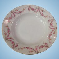Royal Schwarzburg China RSC15 Rimmed Soup Bowl Pink Rose Garland Design c.1915