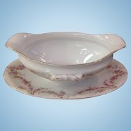 Royal Schwarzburg China RSC15 Gravy Boat Pink Rose Garland Design c.1915